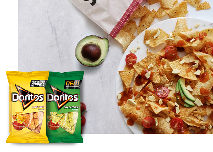 DORITOS® NACHOS WITH AVOCADO AND VEGAN CHEESE